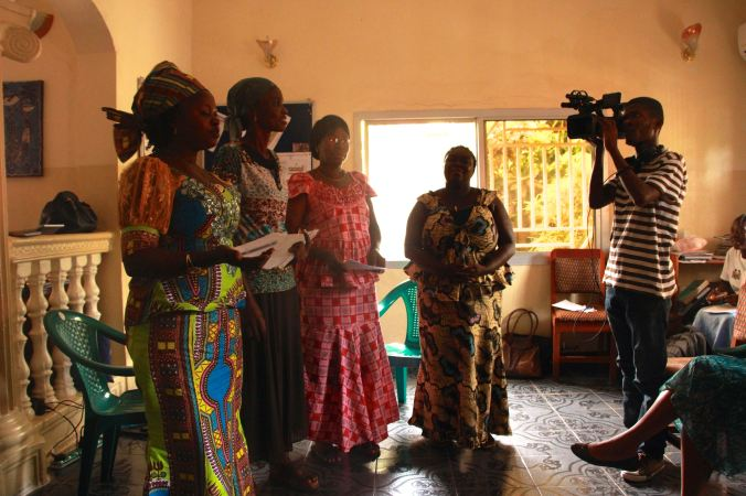 Filming role play in Sierra Leone by Way Out Arts
