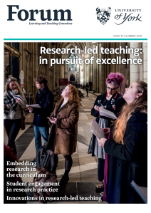Image shows front page of the current issue of the forum magazine. 5 students are stood in the York minster, some are looking at the ceiling, all have papers and are taking notes.