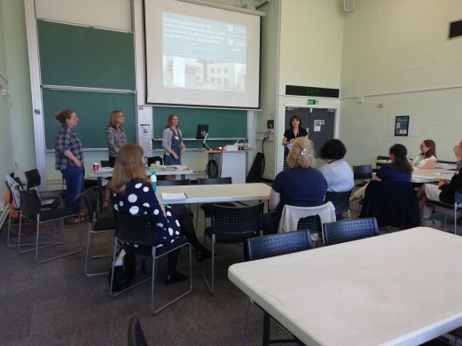 The team explaining how they have used IPE in their teaching practice with student midwives and social work students.
