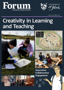 Magazine cover shows photographs of students working outside in front of a lake, in a computing lab wearing VR headsets, in a courtroom setting and with a map of the campus.