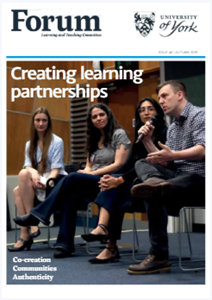 Magazine cover shows students presenting at the Learning and Teaching Conference 2019.