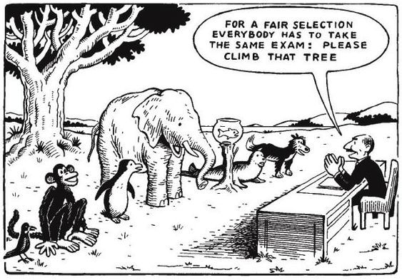"A cartoon showing a line of animals: a monkey, penguin, elephant, fish, seal and dog. A man is saying ""For a fair selection everybody has to take the same exam: Please climb that tree"". Only the monkey is smiling."